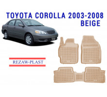 All Weather Rubber Floor Mats Set For TOYOTA COROLLA 2003-2008 Beige