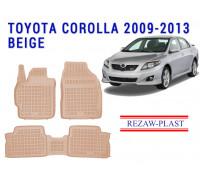 Rezaw-Plast Rubber Floor Mats Set for Toyota Corolla 2009-2013 Beige