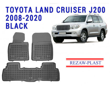 Rezaw-Plast Rubber Floor Mats Set for Toyota Land Cruiser J200 2008-2020 Black
