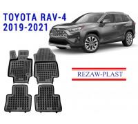 Rezaw-Plast Rubber Floor Mats Set for Toyota RAV-4 2019-2021 Black