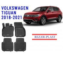 Rezaw-Plast Rubber Floor Mats Set for Volkswagen Tiguan 2018-2021 Black
