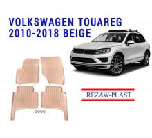 Rezaw-Plast Rubber Floor Mats Set for Volkswagen Touareg 2010-2018 Beige