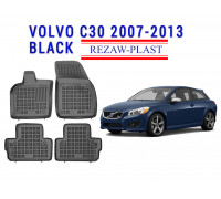 All Weather Rubber Floor Mats Set For VOLVO C30 2007-2013 Black