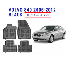 All Weather Rubber Floor Mats Set For VOLVO S40 2005-2012 Black