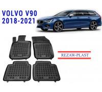Rezaw-Plast Rubber Floor Mats Set for Volvo V90 2018-2021 Black