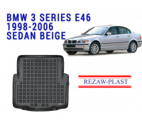 Rezaw-Plast Rubber Trunk Mat for BMW 3 Series E46 1998-2006 Sedan Black