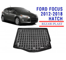 All Weather Rubber Trunk Mat For FORD FOCUS 2012-2018 HATCH Black