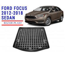 Rezaw-Plast  Rubber Trunk Mat for Ford Focus 2012-2018 Sedan Black
