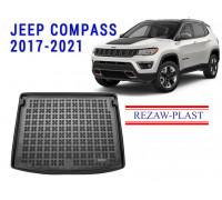 Rezaw-Plast Rubber Trunk Mat for Jeep Compass 2017-2021 Black