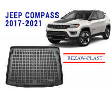 All Weather Rubber Trunk Mat For JEEP COMPASS 2017-2021 Black