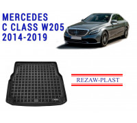 All Weather Rubber Trunk Mat For MERCEDES C CLASS W205 2014-2019 Black