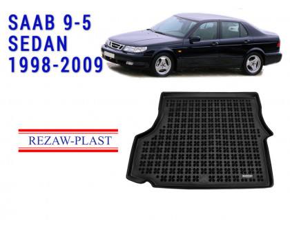 Rezaw-Plast Rubber Trunk Mat for Saab 9-5 Sedan 1998-2009 Black