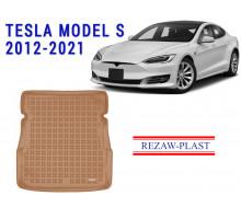All Weather Rubber Trunk Mat For TESLA MODEL S 2012-2021 Beige