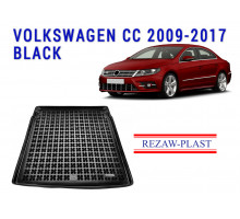 All Weather Rubber Trunk Mat For VOLKSWAGEN CC 2009-2017 Black