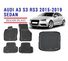 Rezaw-Plast Floor Mats Trunk Liner Set for Audi A3 S3 RS3 2015-2019 Sedan Black