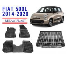 Rezaw-Plast Floor Mats Trunk Liner Set for Fiat 500L 2014-2021 Black