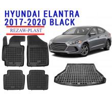 Rezaw-Plast  Floor Mats Trunk Liner Set for Hyundai Elantra 2017-2020 Black