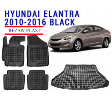 Rezaw-Plast  Floor Mats Trunk Liner Set for Hyundai Elantra 2010-2016 Black
