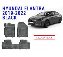 Rezaw-Plast  Rubber Floor Mats Set for Hyundai Elantra 2019-2022 Black