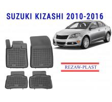 Rezaw-Plast  Rubber Floor Mats Set for Suzuki Kizashi 2010 - 2016 5DR Black