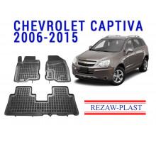 Rezaw-Plast Rubber Floor Mats Set for Chevrolet Captiva 2006-2015 Black