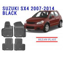 Rezaw-Plast Rubber Floor Mats Set for Suzuki SX4 2007-2014 Hatchback Black