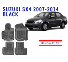 Rezaw-Plast Rubber Floor Mats Set for Suzuki SX4 2007-2014 Sedan Black