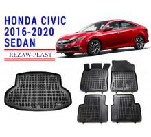 Rezaw-Plast Floor Mats Trunk Liner Set for Honda Civic 2016-2020 Sedan Black